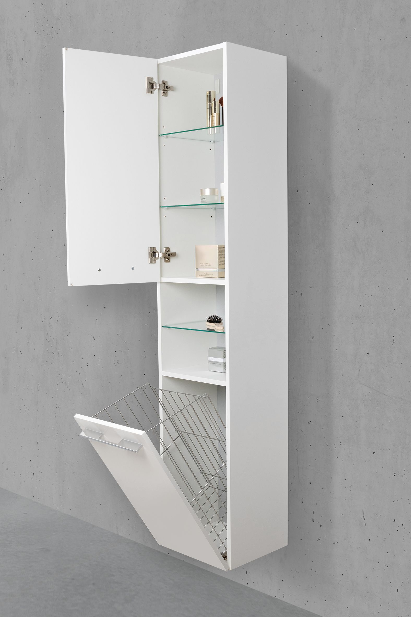 Badschrank Mit Waschekippe Hochschrank H B T 176 6 40 32 5cm Weiss