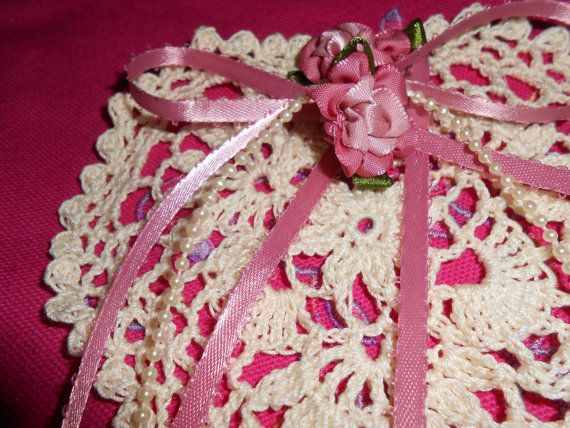 Hand Crochet Shabby Chic Victorian Heart by TattooedTextiles, $7.50