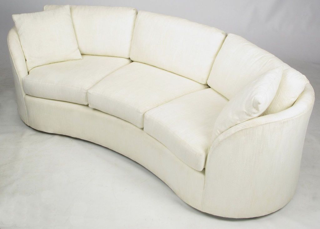 Hekman Art Deco Revival Kidney Shaped Sofa In Creamy Silk Image 2