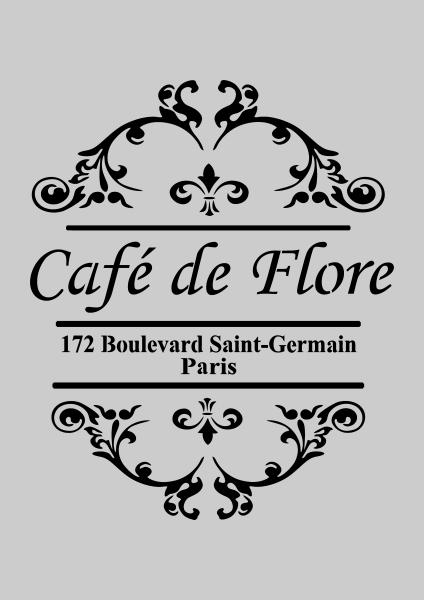 french style shabby chic cafe de flore stencil stencil pinterest transfert pochoir et caf. Black Bedroom Furniture Sets. Home Design Ideas