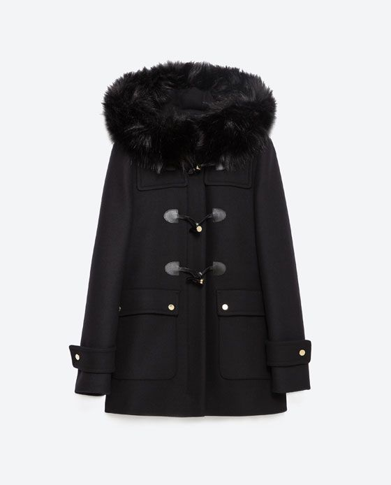Image 8 of DUFFLE COAT WITH FAUX FUR LINED HOOD from Zara | = JE ...