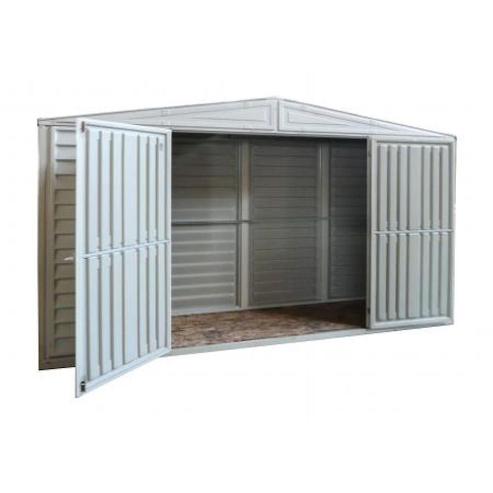 Duramax Building Products Sidepro 10 5 Ft X 3 Ft Vinyl Shed 98001 The Home Depot Vinyl Sheds Vinyl Storage Sheds Shed Storage