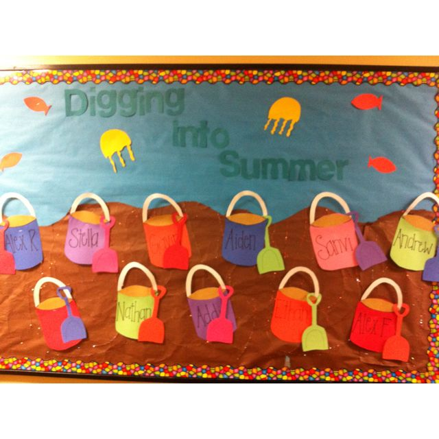 Classroom Attendance Ideas ~ Quot digging into summer bulletin board i made for
