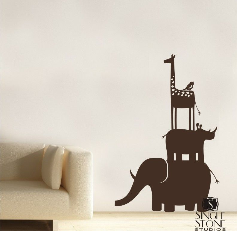 Animal Safari Kids Wall Decals Stack Vinyl Wall Art Vinyls - Vinyl wall decals animals