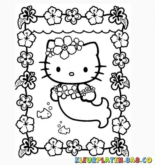 Kleurplaten Hello Kitty Princess.Kleurplaten Hello Kitty Zeemeermin Kleurplaten Hello Kitty