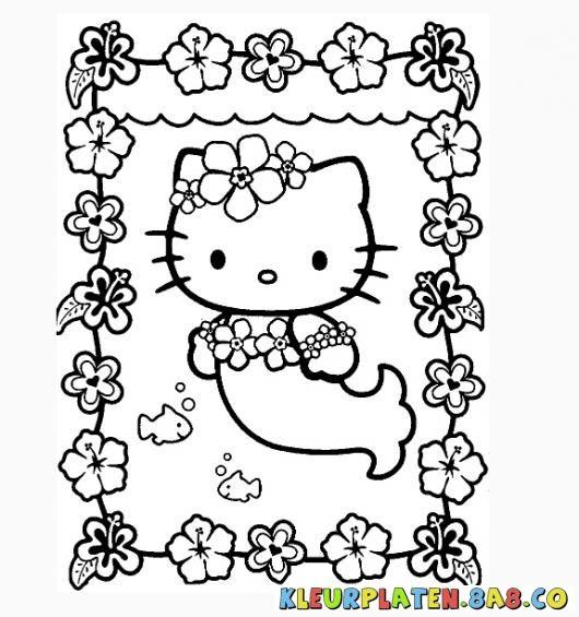 Kleurplaten Van Hello Kitty Verjaardag.Kleurplaten Hello Kitty Zeemeermin Kleurplaten Hello Kitty