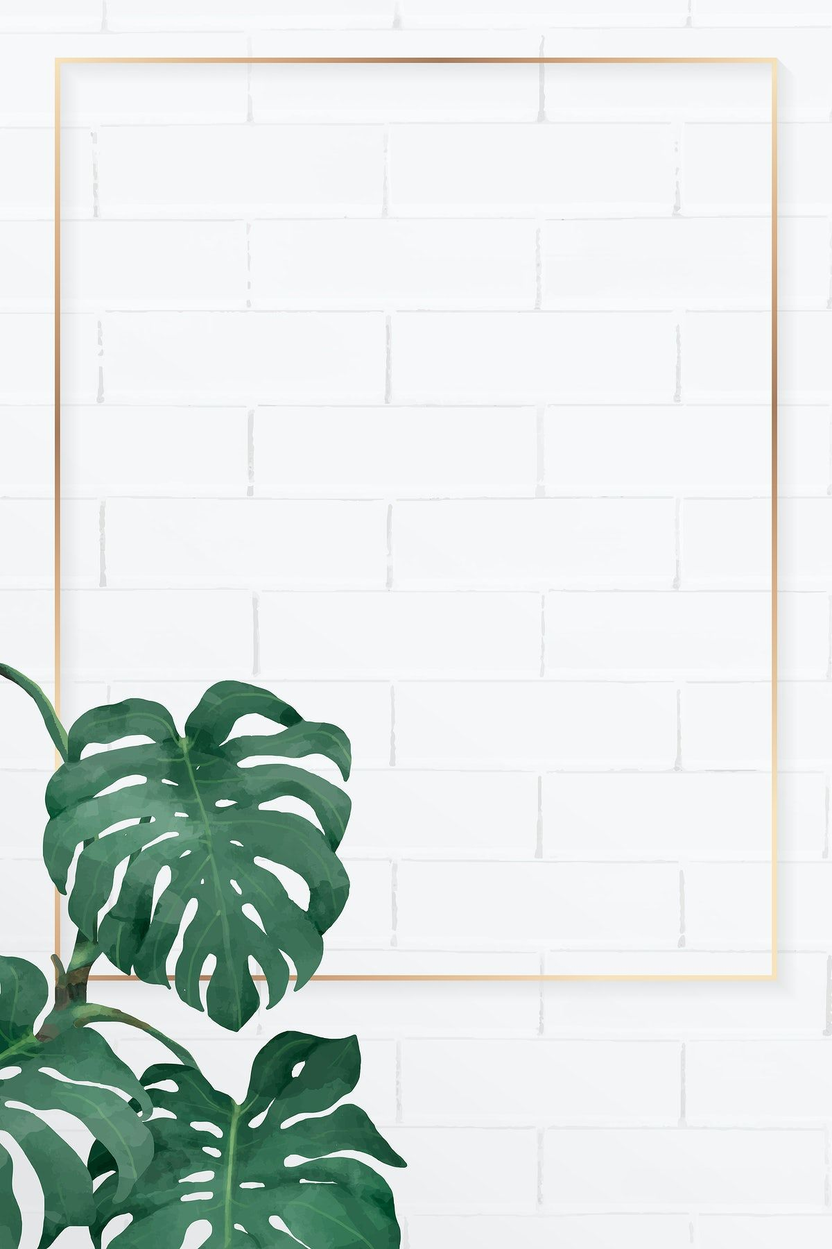 Download premium vector of Blank rectangle monstera frame