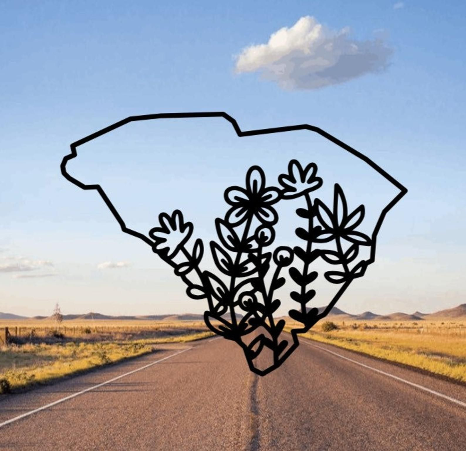 South Carolina Flower Decal Wild Flowers State Home Car Etsy Floral Stickers Wild Flowers Flowers [ 1536 x 1588 Pixel ]