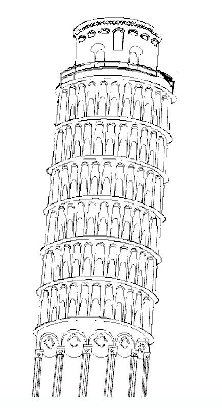 Leaning Tower Of Pisa Coloring Pages Coloring Pages For Kids Sketsa Sketsa Tato