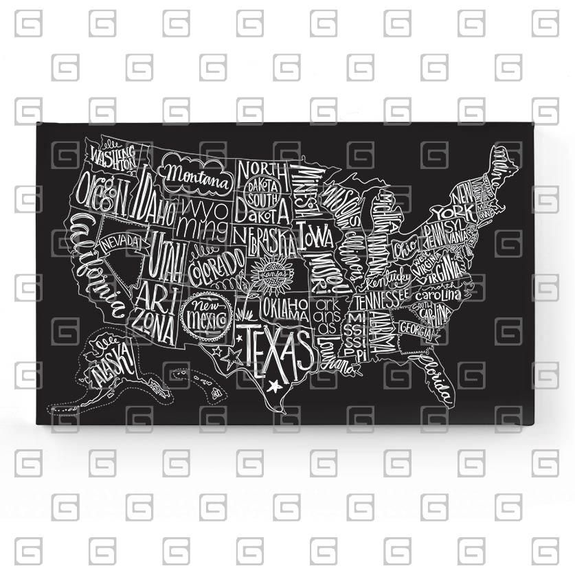 Chalkboardlike US Map With Handwritten Doodle State Names Basic - Us map chalkboard