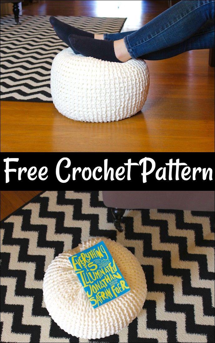 Crochet Floor Pouf - All Free Patterns | Diy pouf, Crochet ...