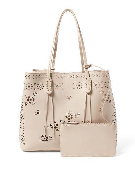 Laser-Cut Floral Leather Tote - All Accessories   Women - RalphLauren.com $398