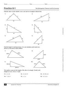 Practice 8 1 The Pythagorean Theorem And Its Converse 10th 12th Grade Worksheet Pythagorean Theorem Worksheet Pythagorean Theorem Practices Worksheets