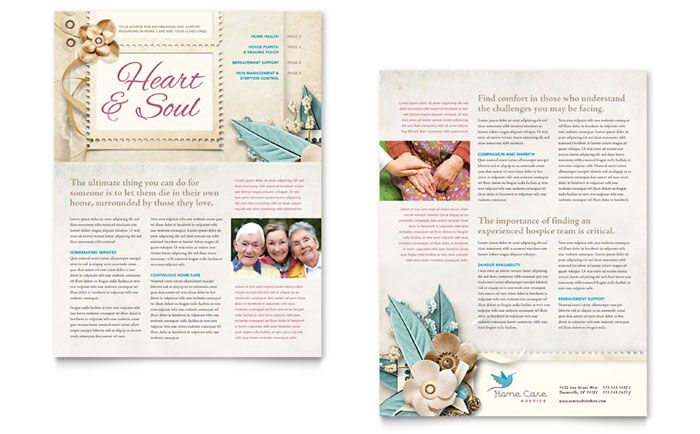 hospice and home care newsletter design template by stocklayouts