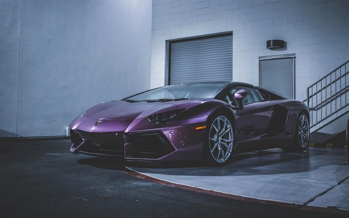Download Wallpapers Lamborghini Aventador Parking 2018 Cars Darkness Supercars Purple Aventador Lamborghini Besthqwallpapers Com In 2020 Sports Car Lamborghini Car