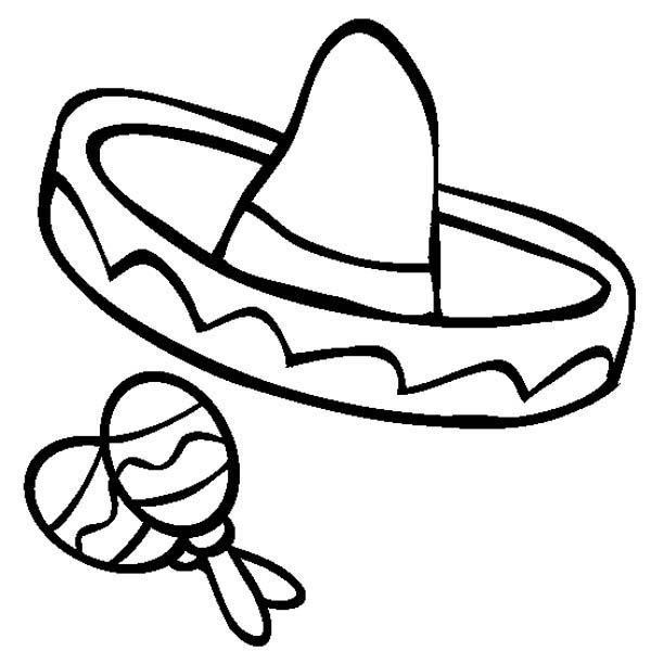 Mexican Fiesta Mexica Sombrero And Maracas In Mexican Fiesta Coloring Page Coloring Pages For Kids Coloring Pages Emoji Coloring Pages