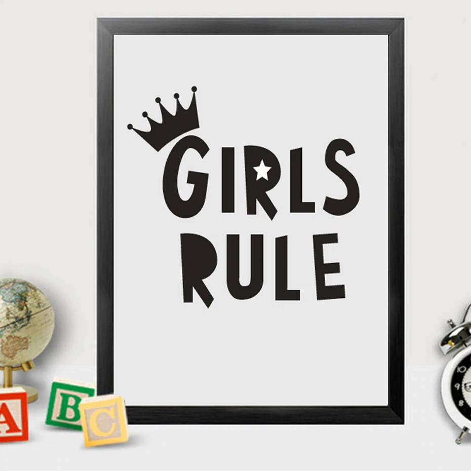 Girls Rule Poster For Girl S Room Modern Black And White Canvas
