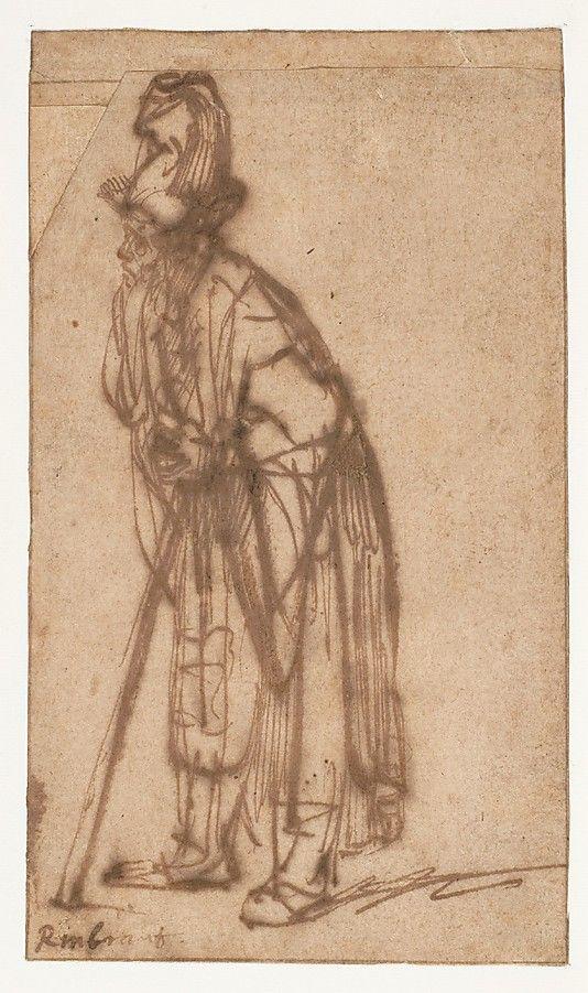Old Man Leaning On A Stick Rembrandt Rembrandt Van Rijn Dutch Leiden 1606 1669 Amsterdam More Drawn