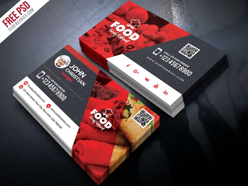 Free Restaurant Business Card Psd Restaurant Business Cards Food Business Card Free Business Card Templates