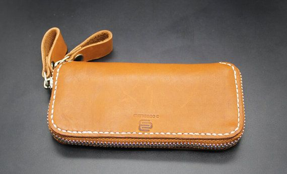 Hand-stitched Leather Wallet zipper purse IPHONE 5 5S by 3cobblers