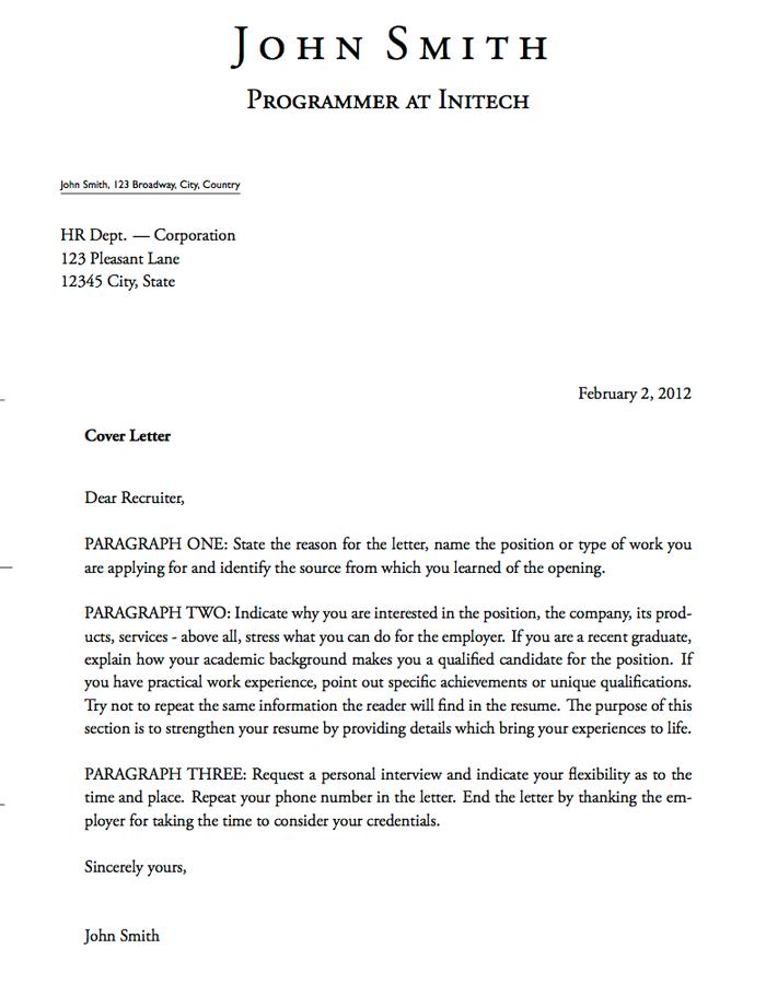 resume cover letter types