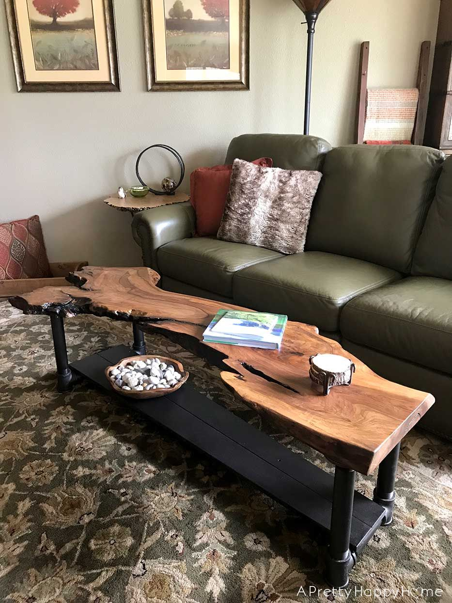 Diy Live Edge Wood Coffee Table A Pretty Happy Home Wood Coffee Table Diy Wood Table Design Living Room Table [ 1244 x 933 Pixel ]