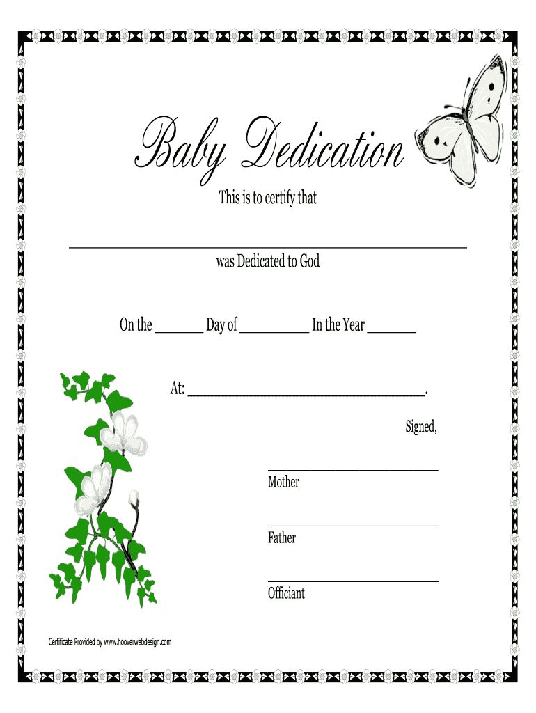 The Terrific Baby Dedication Certificates Printable Fill Online