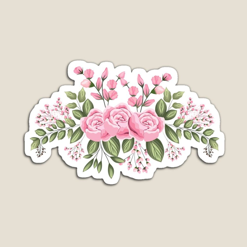 Set 3x sticker decal wall fridge children room decorate pink rose flower