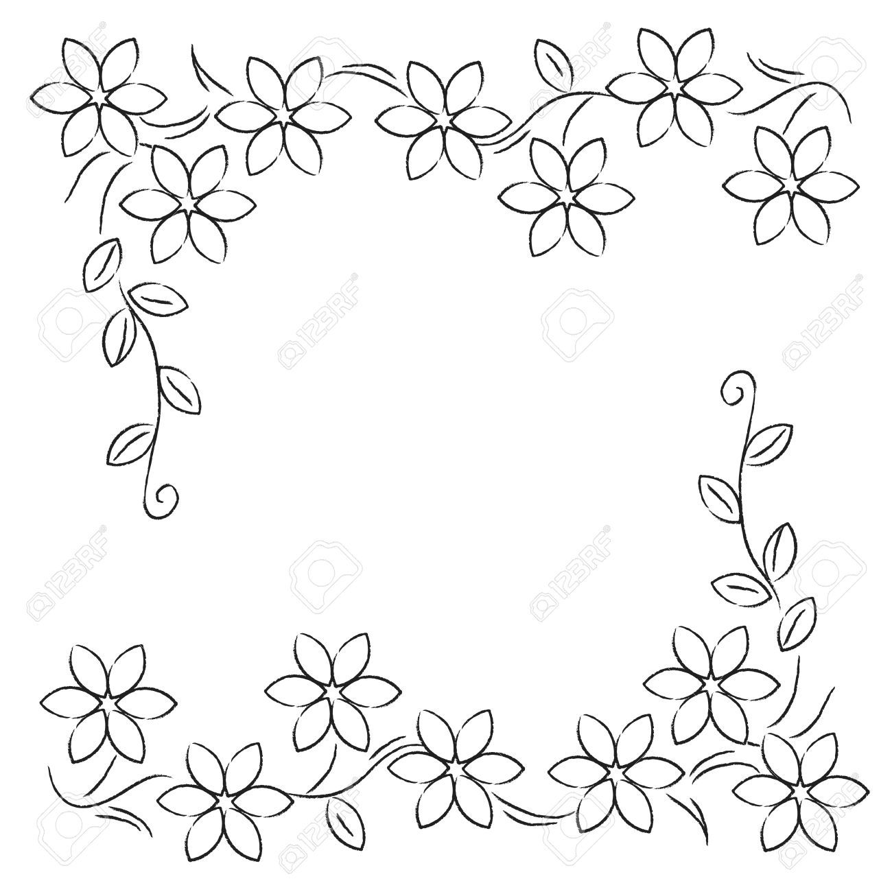 Line Drawing Flower Borders : Flower border line google search stationary to color