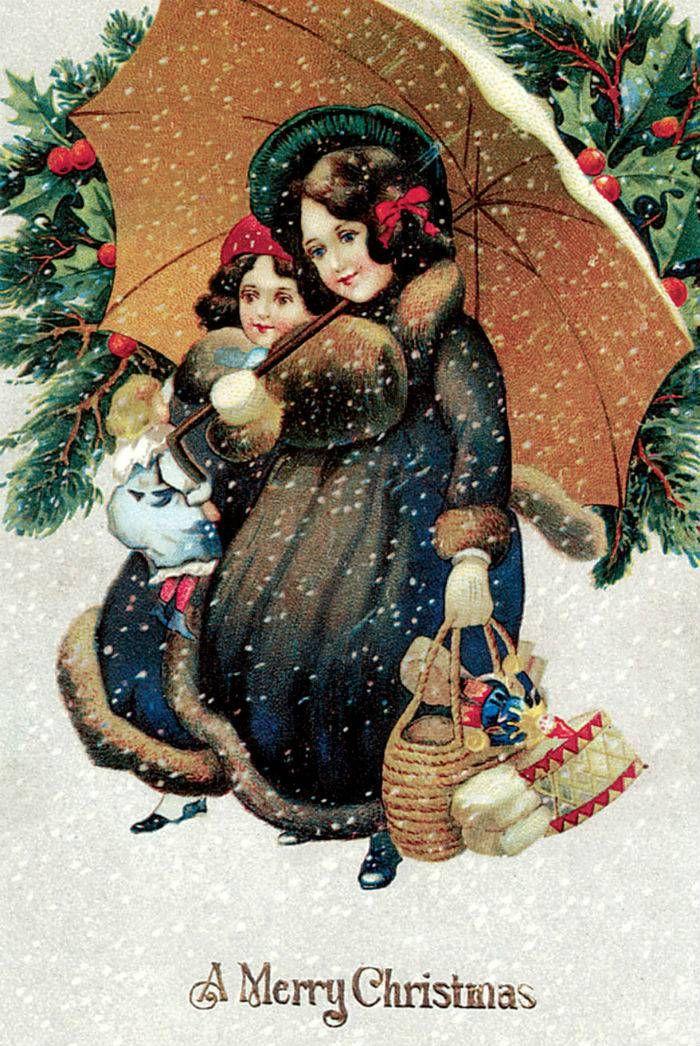 Днем, винтажная открытка рождество