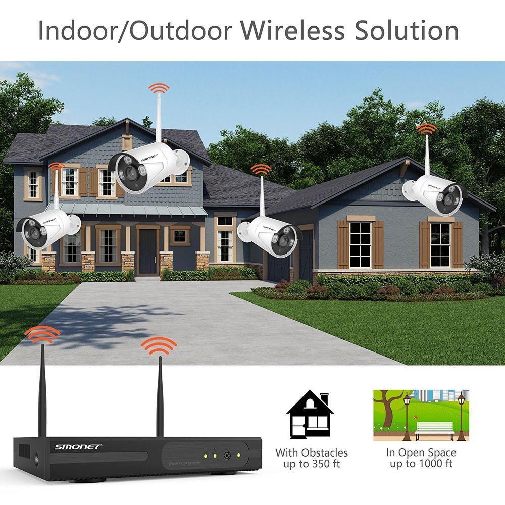wireless security camera system 4pcs 1080p indoor outdoor ip 65ft night vision ebay link  [ 1000 x 1000 Pixel ]