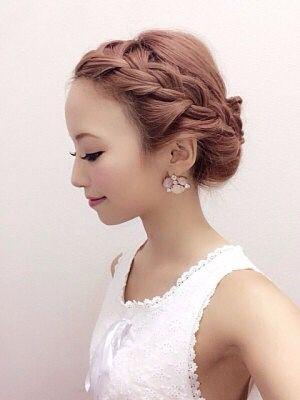 太編み込み パーティー 結婚式 お呼ばれ 髪型 長い前髪 アレンジ