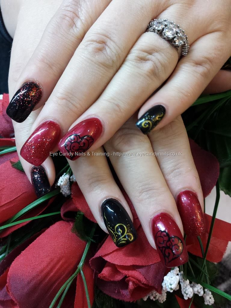Red and black with glitter and freehand nail art Taken at:2/14/2014 ...
