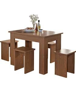 Legia Oak Space Saving Dining Table and 4 Stools. Space