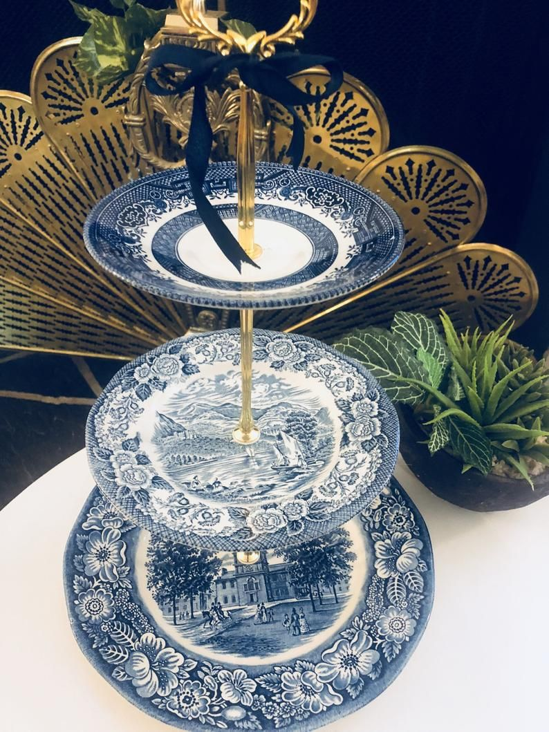 3 tier blue willow cake stand 3 tier blue and white