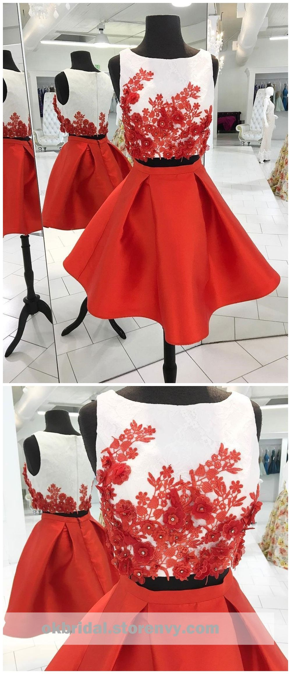 Sexy two pieces unique red homecoming dresses cm from