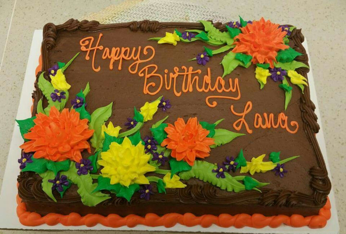 Groovy Decedent Fall Floral Sheet Cake In Buttercream With Images Personalised Birthday Cards Veneteletsinfo