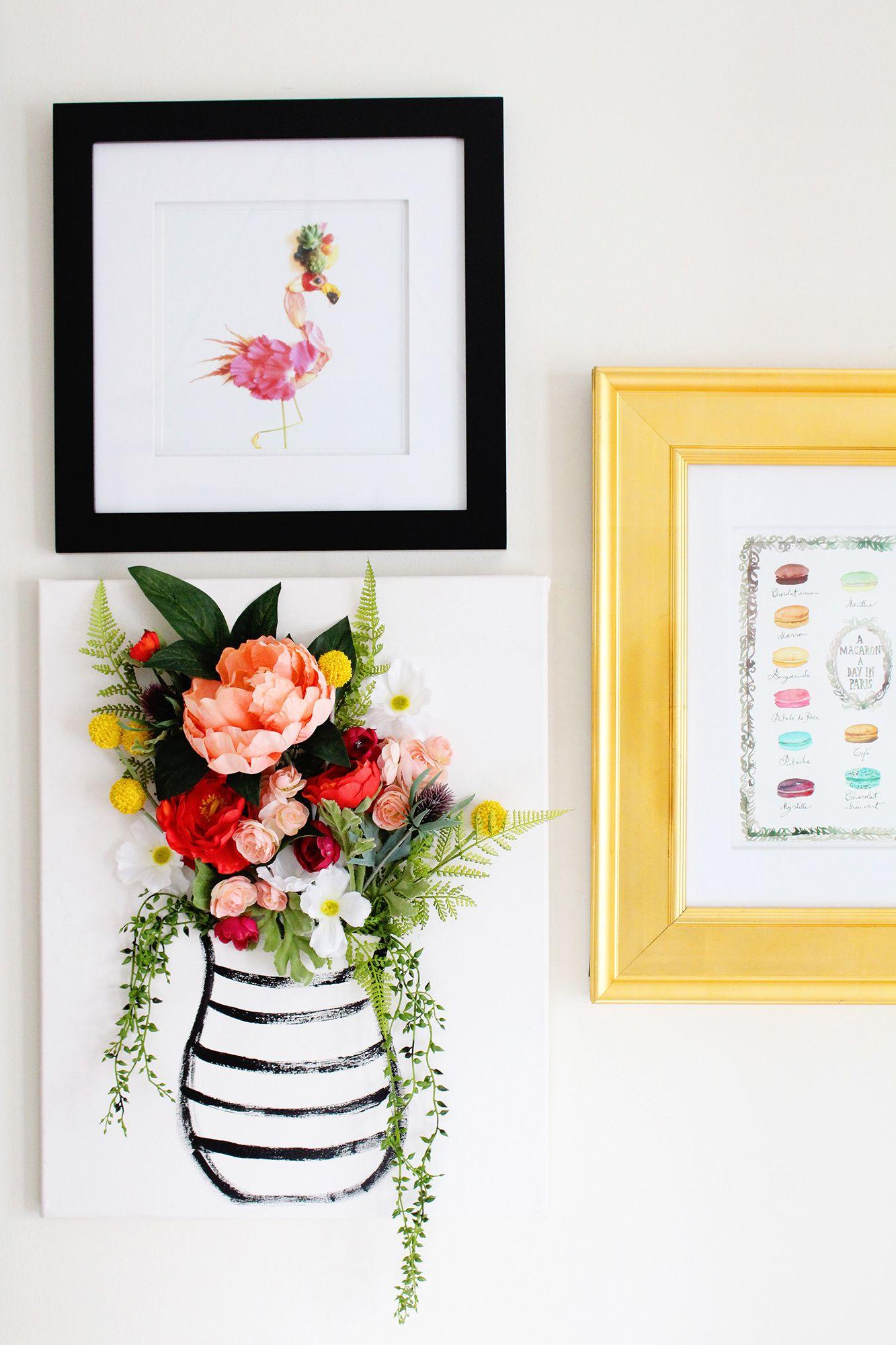 Diy d flower canvas art part flower canvas wall pops and