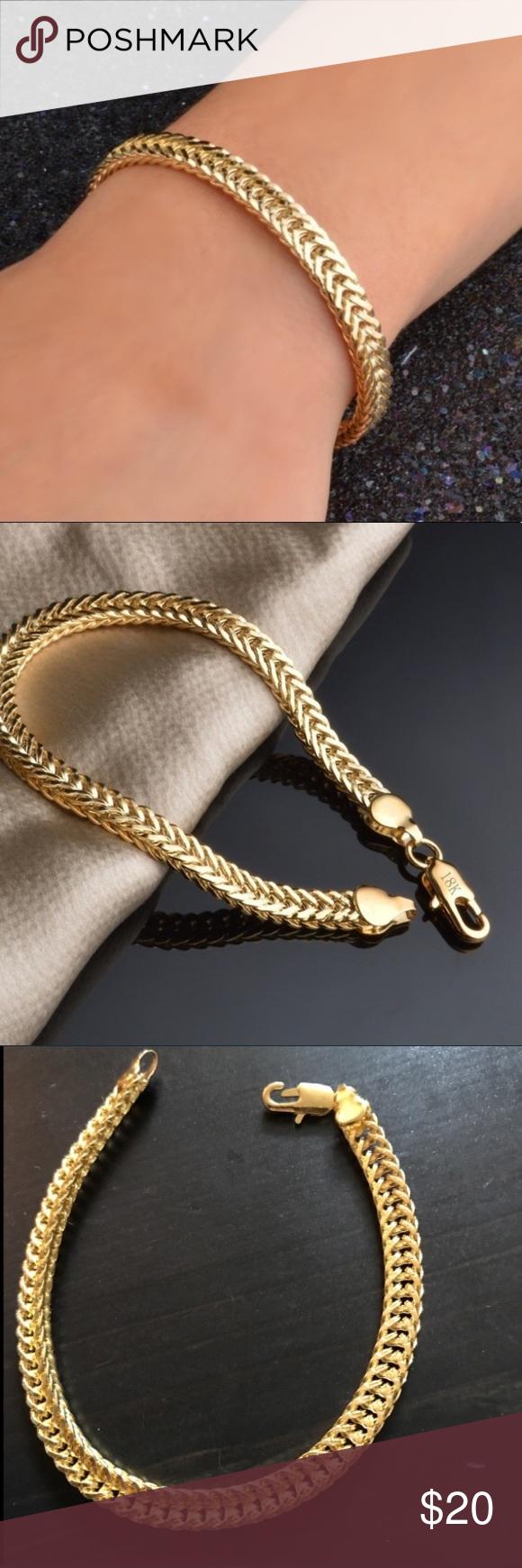 Unisex k gf cool punk bracelet cuban style gold fashion fashion