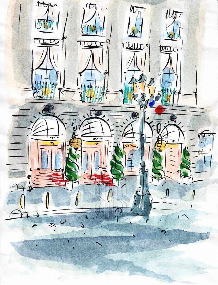 Hotel Ritz Paris Paris Illustration Paris Painting