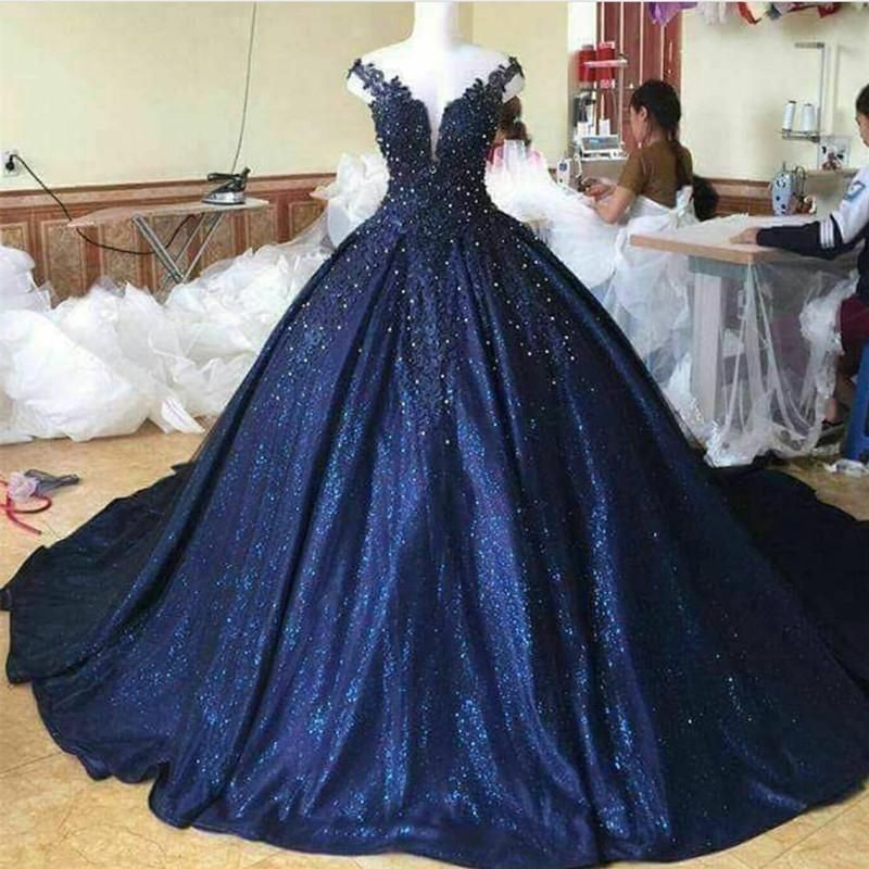 Blue Wedding Dresses 2019: Lace Pearl Beaded V Neck Off Shoulder Navy Blue Ball Gowns