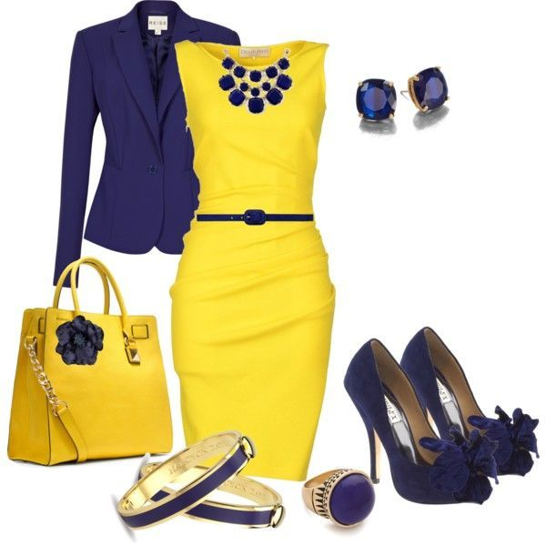 Vestido amarillo con chaqueta azul