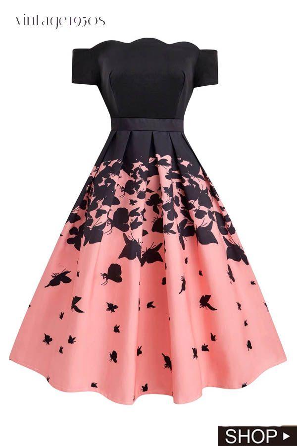 Black 1950s Butterfly Swing Dress Kawaii Dress Vintage Dresses 50s Fashion Dresses