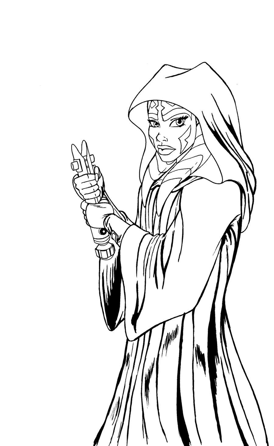 Ahsoka Tano Robed Lineart By Josephb222 Deviantart Com On Deviantart Star Wars Coloring Book Star Wars Drawings Star Wars Fan Art