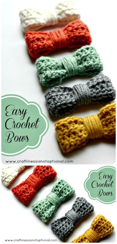 52 Free Crochet Bow Patterns | Tie, Headband, Gift Bow #crochetbowpattern