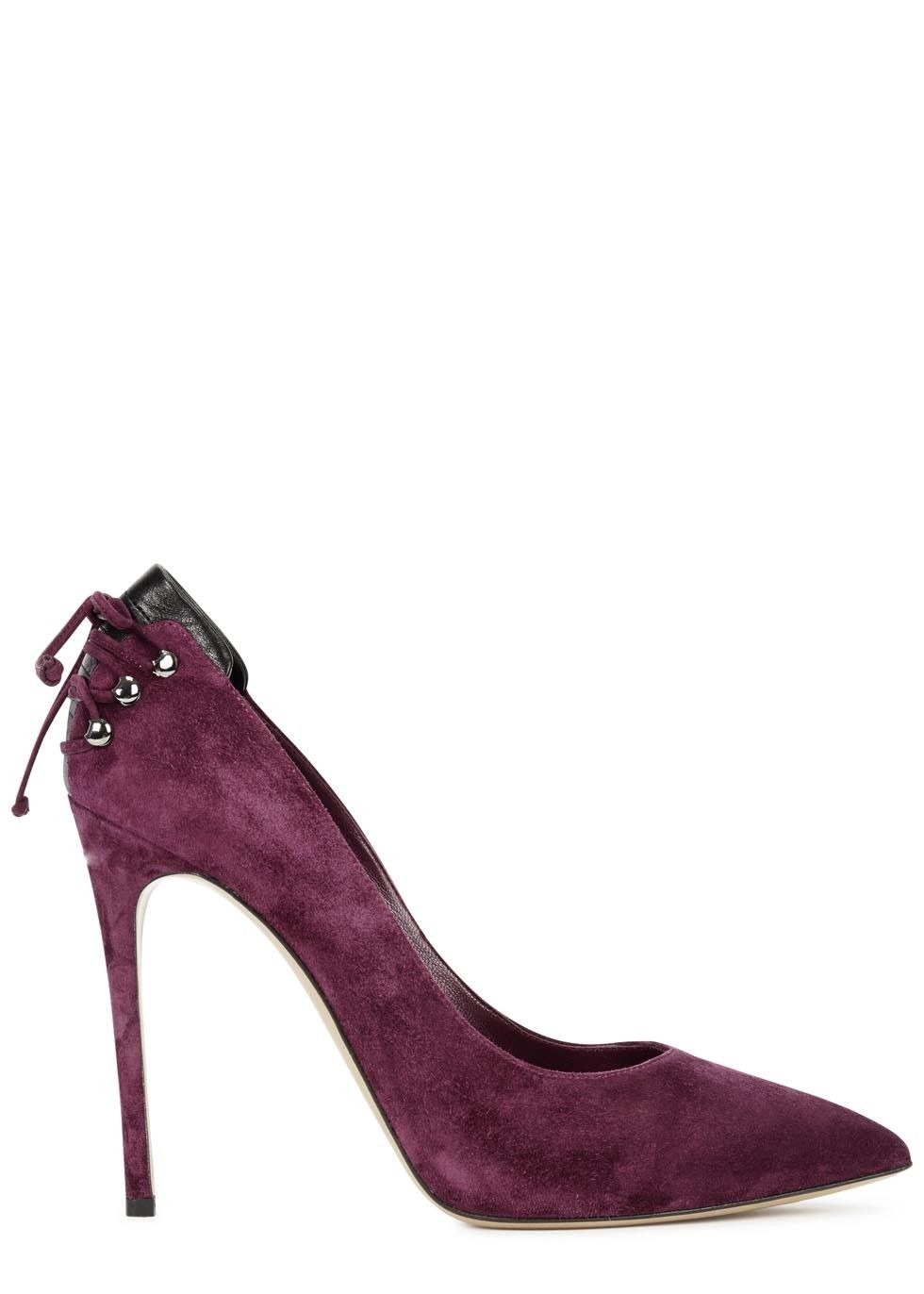 Casadei dark magenta suede pumps Heel measures approximately 4.5 inches   110mm Lace-up embellishment at back d700d7e9837
