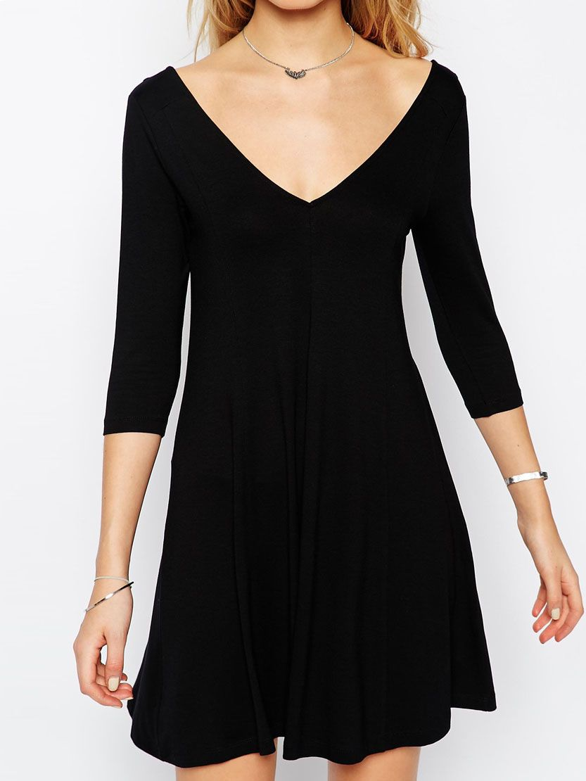 Shop black v neck flare dress online shein offers black v neck