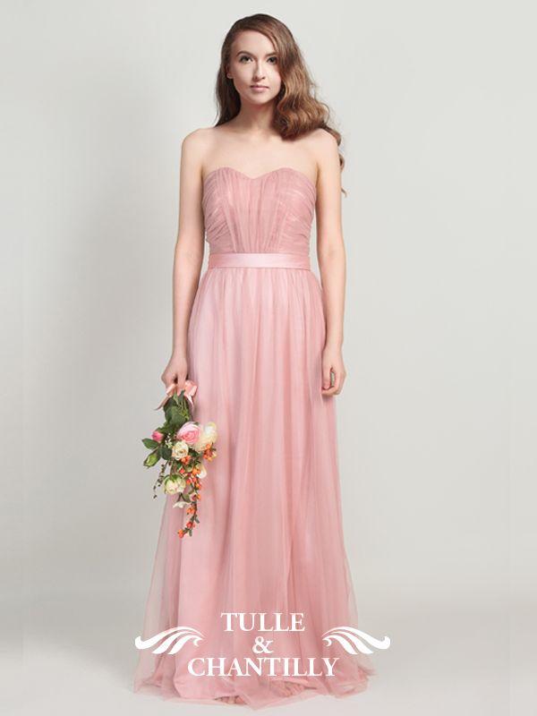 Long Tulle Strapless Bridesmaid Dresses TBQP313   Vestidos novia ...