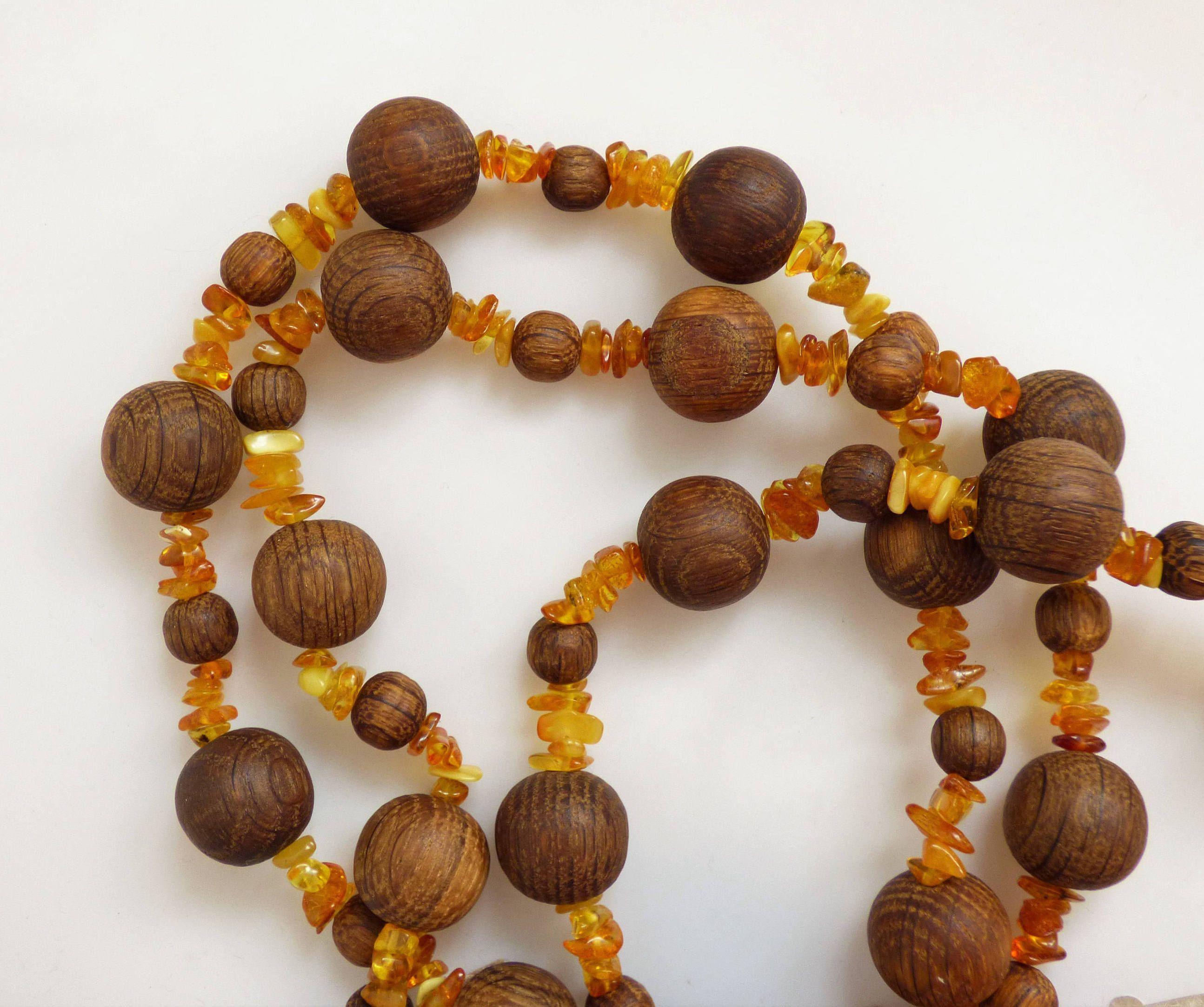 Unisex Handmade Folk Art Vintage French Wood Oak Beads & Baltic Amber Necklace Size 54 in / 137 cm #baltic