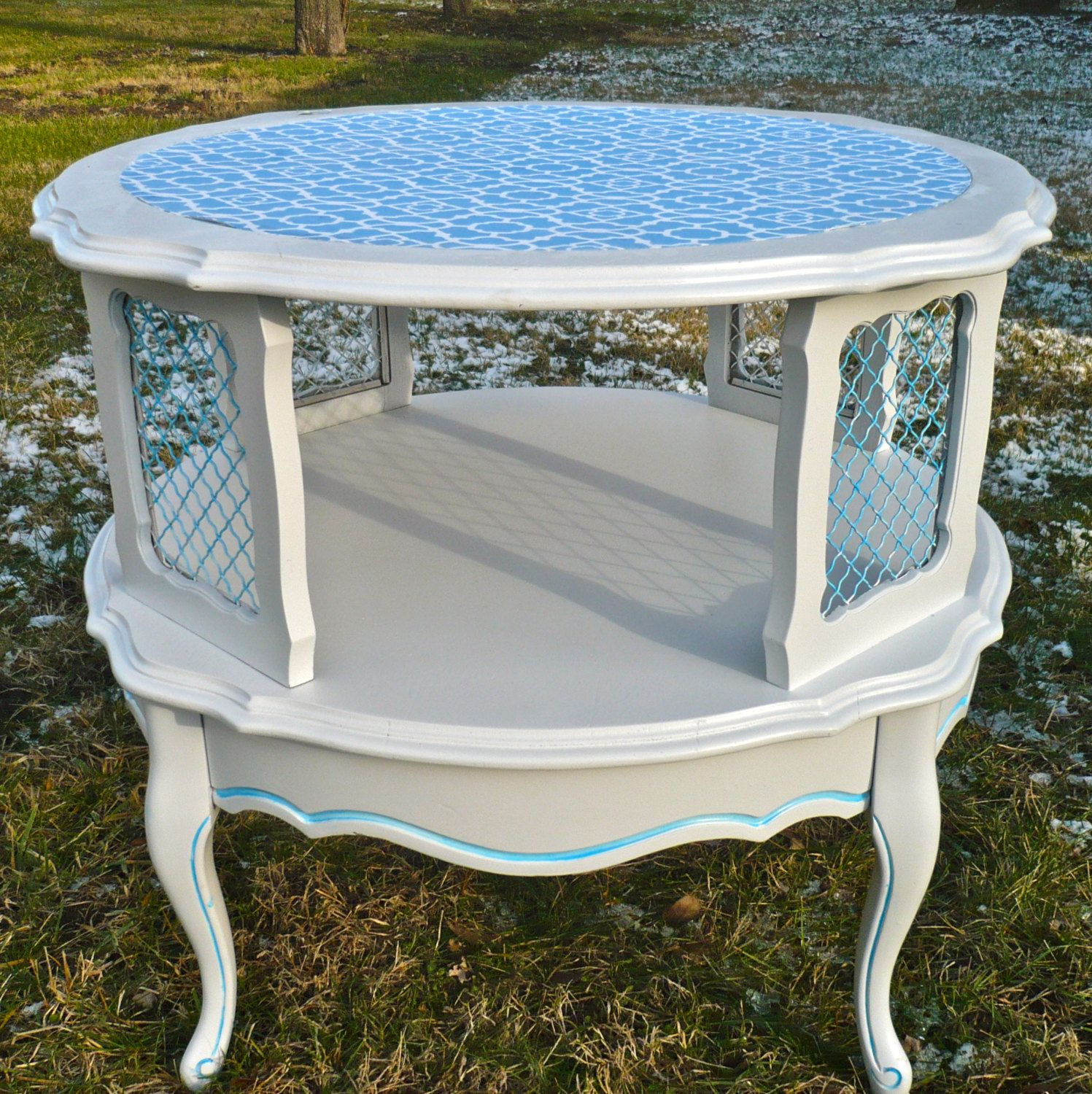 Painted Furniture Tiered Table Round French Provincial End